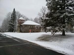 Snow on the schoolhouse