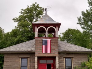 School front with flag
