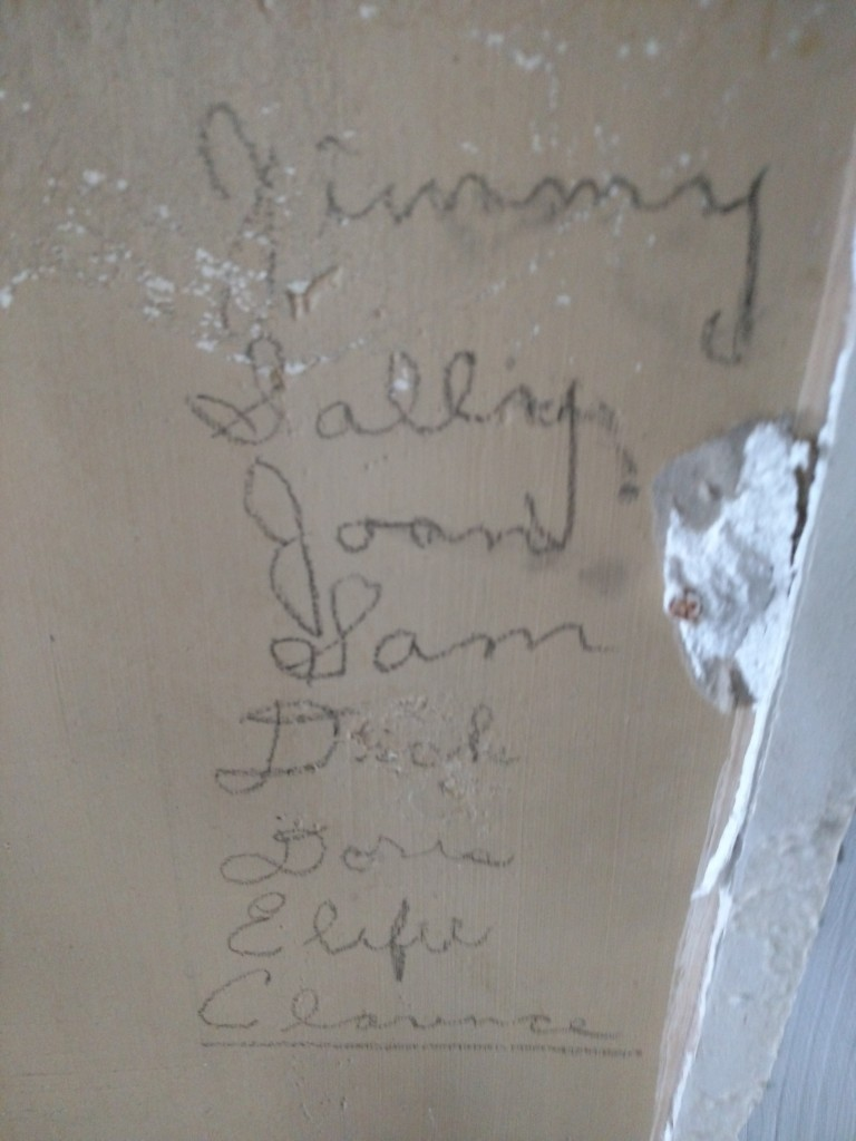 Names found under the drywall in old school.